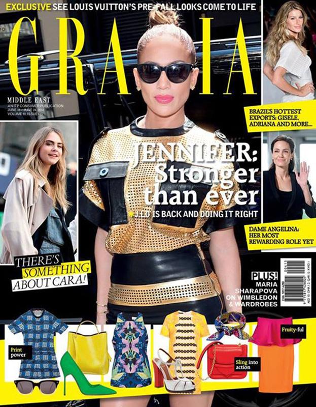 Jennifer Lopez w kreacji Ungaro z kolekcji wiosna-lato 2014 na okładce Grazia Middle East/ mat. prasowe  Grazia Middle East