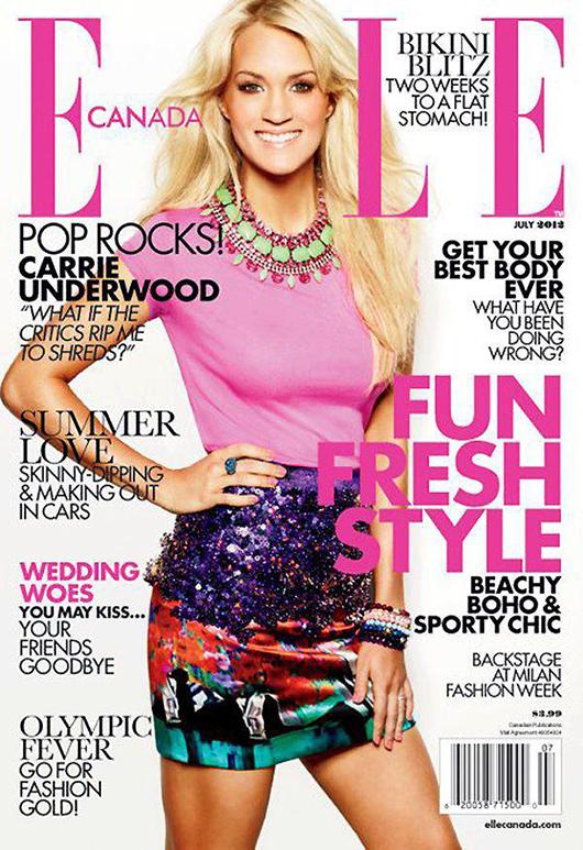 Spódnica Mary Katrantzou na okładce Elle Canada/mat. prasowe  Elle Canada