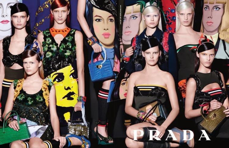 Ola Rudnicka/Model Plus i Magda Jasek/Free Models w kampanii Prady SS 2014