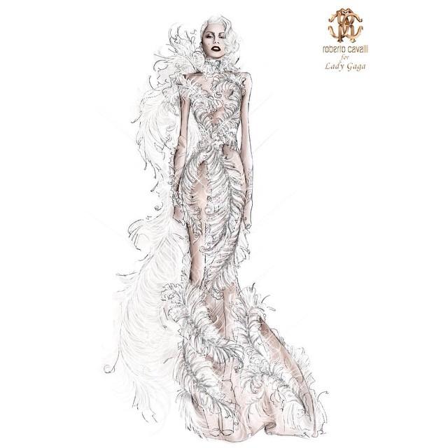 Projekt sukienki Roberto Cavalli dla Lady Gagi/Instagram: @roberto_cavalli