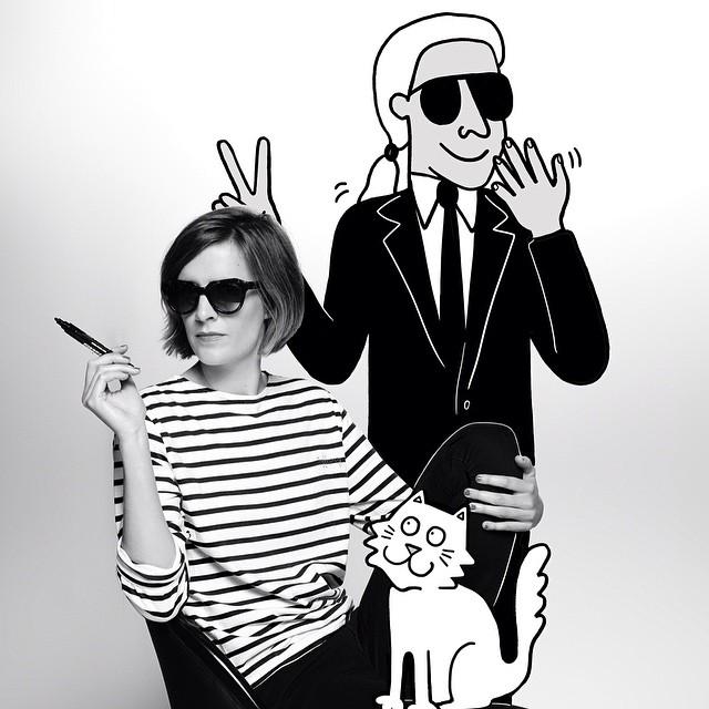 Tiffany Cooper i Karl Lagerfeld wraz z jego kotką Choupette/Instagram: @wwd