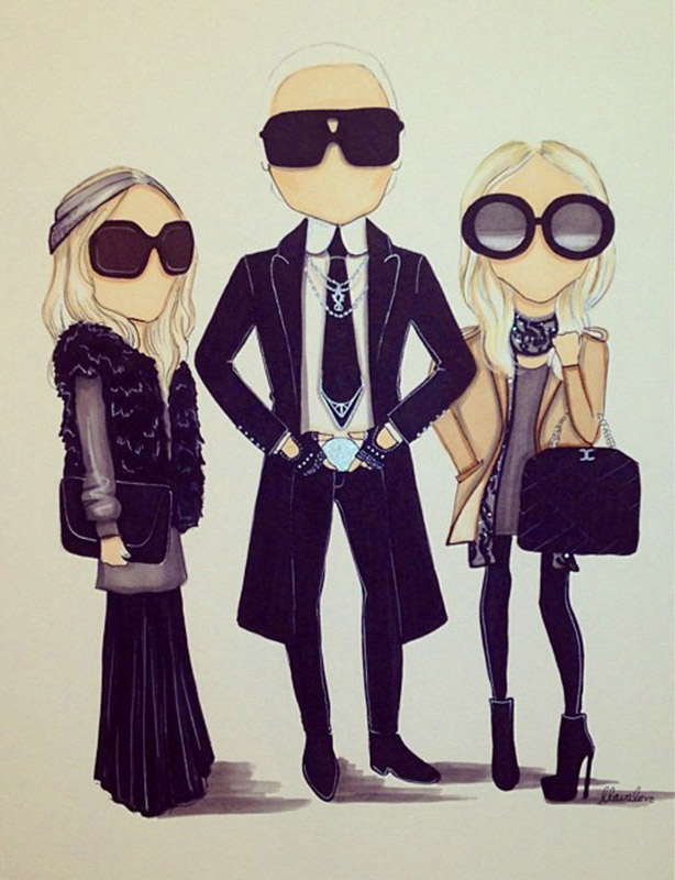Karl Lagerfeld oraz Mary Kate i Ashley Olsen/za zgodą Aarona Favaloro