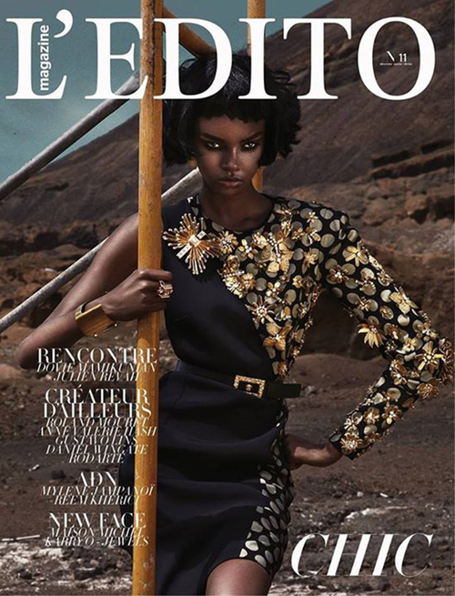 Sukienka Ungaro z kolekcji jesień-zima 2013 na okładce l'Edito Magazine/ mat. prasowe l'Edito Magazine