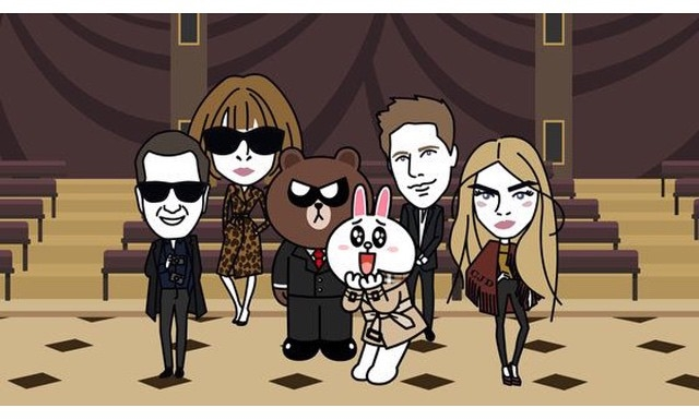 Karl Lagerfeld, Anna Wintour, Mario Testino i Cara Delevingne w animacji Burberry/Instagram: @mariotestino