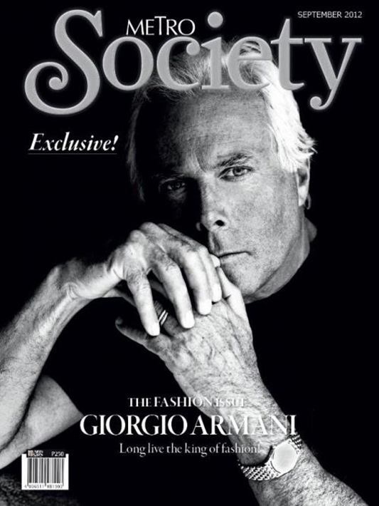 Giorgio Armani na okładce Metro Society