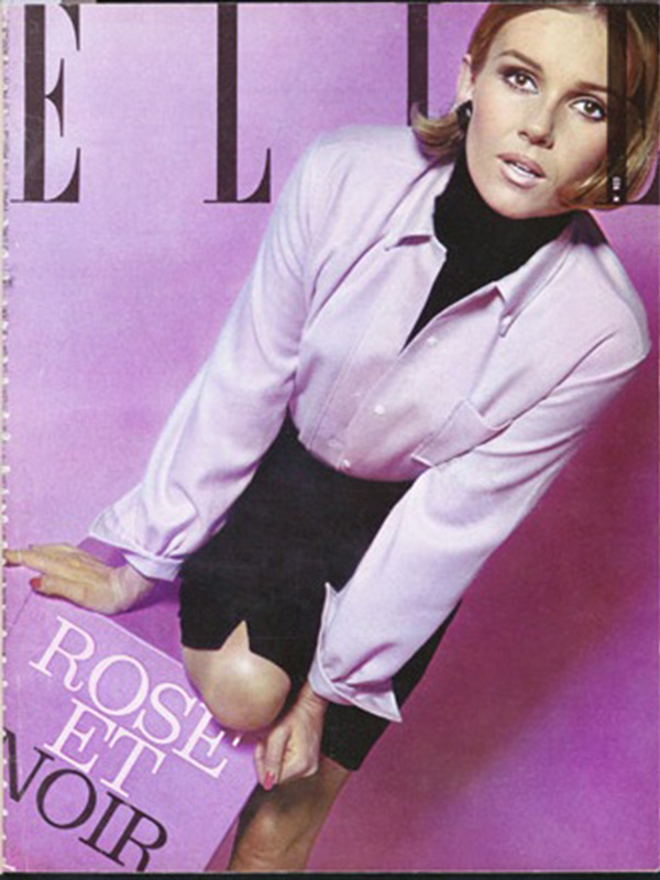 Słynna koszula marki Cacharel na okładce magazynu Elle z 1963 roku
