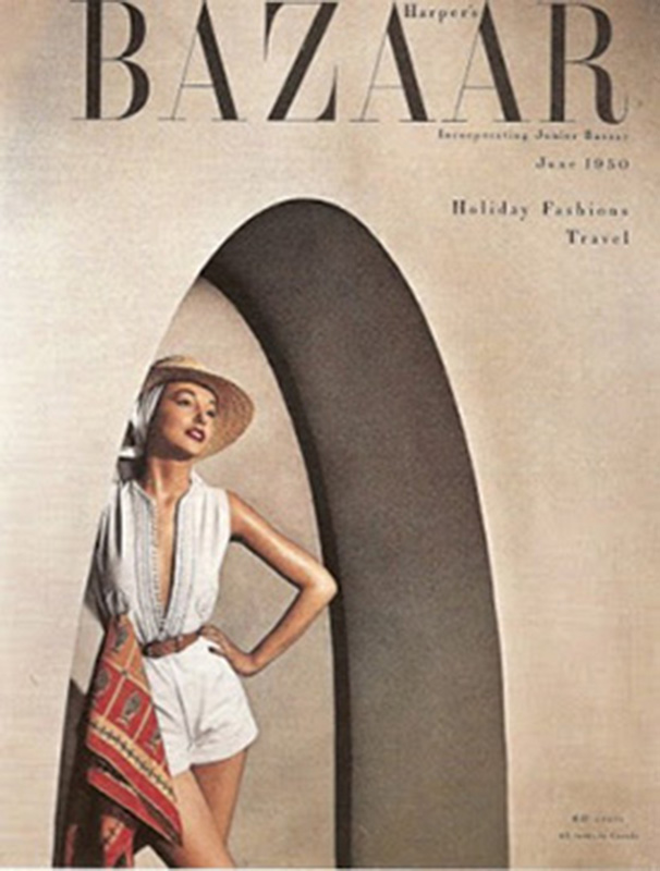 Ubrania z kolekcji resort na okładce magazynu Harper's Bazaar z 1950 roku