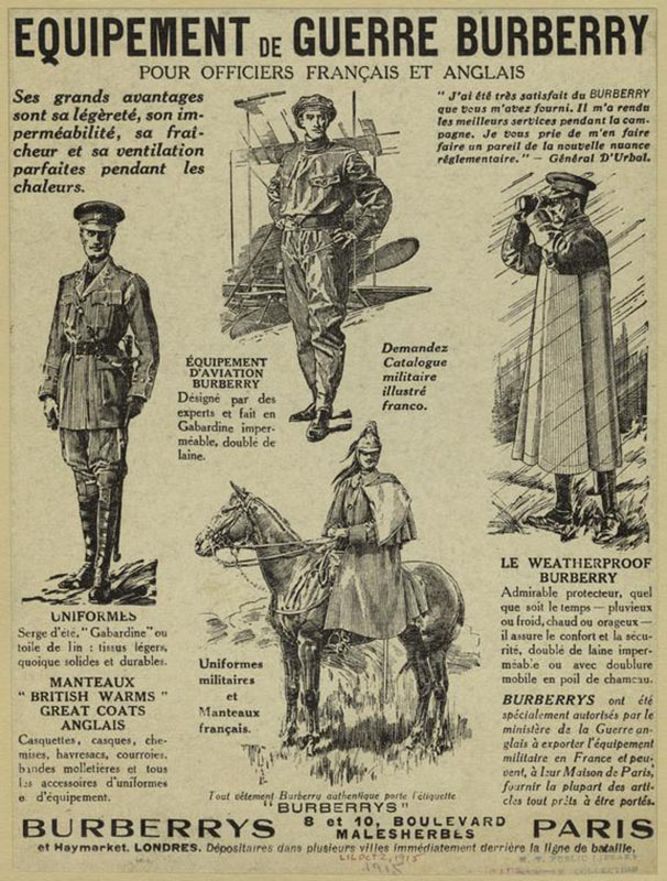 Plakat przedstawiający produkty marki Burberry noszone przez angielskich i francuskich żołnierzy z 1915 roku