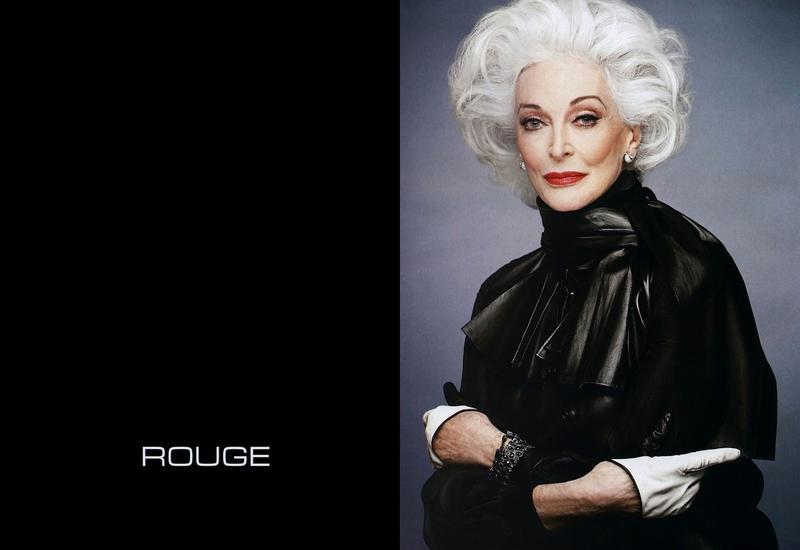 Carmen Dell'Orefice. w kampanii marki Rouge