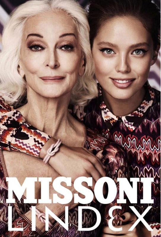 Carmen Dell'Orefice w kampanii marki Missoni