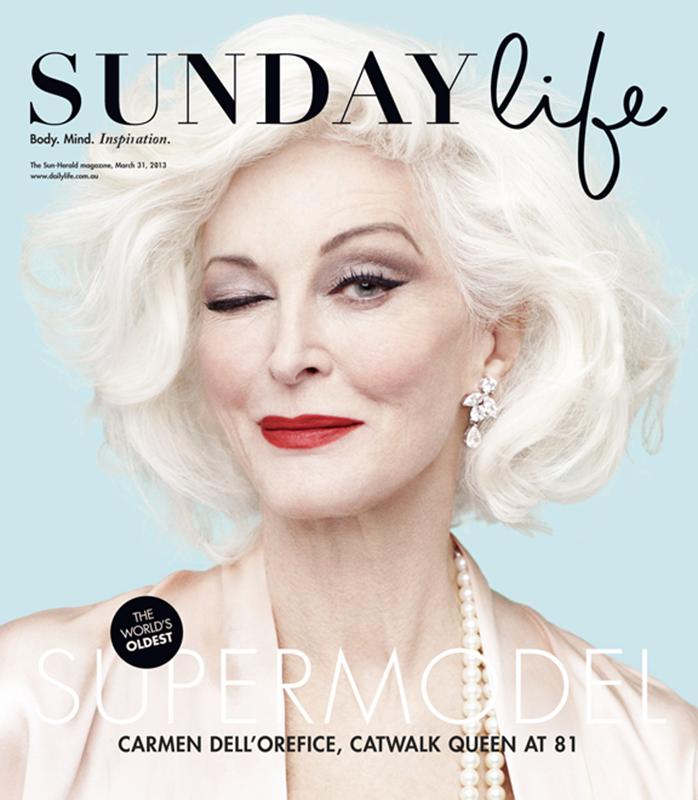 Carmen Dell'Orefice na okładce magazynu Sunday Life
