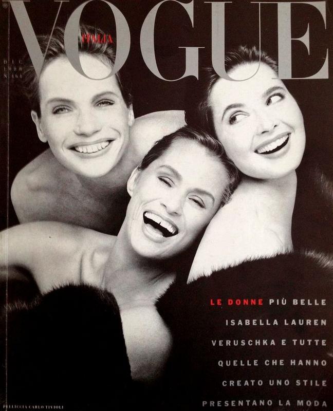 Veruschka, Lauren Hutton, Isabella Rossellini w Vogue Italia, 1988 r., fot. Steven Meisel