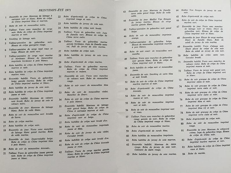 Plan pokazu kolekcji rozdawany gościom w 1971 roku/mat.prasowe Fondation Pierre Bergé – Yves Saint Laurent