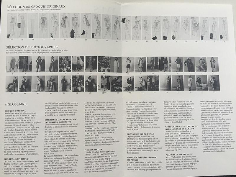 Broszura opisująca wystawę/mat.prasowe Fondation Pierre Bergé – Yves Saint Laurent
