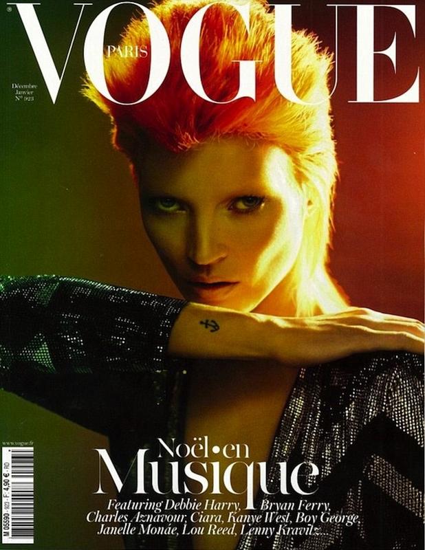 Kate Moss stylizowana na Davida Bowie'ego, Vogue Paris
