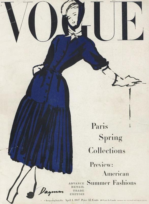 Kreacja Christiana Diora na okładce Vogue, kwiecień 1947 r.
