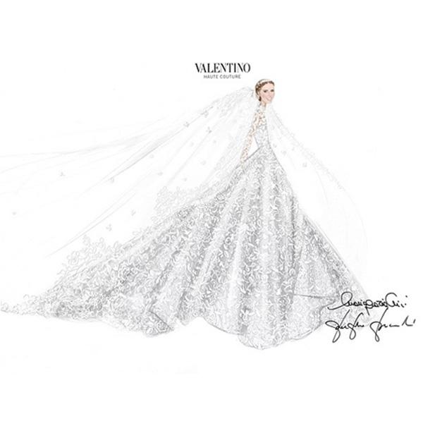 Projekt sukni ślubnej/Instagram: @maisonvalentino