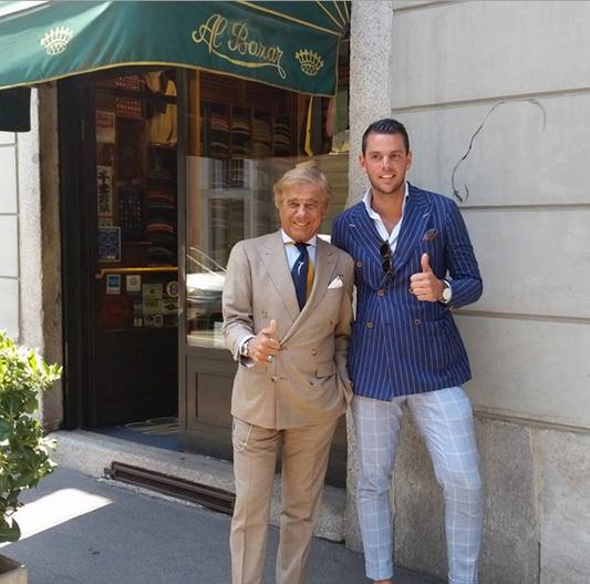 Lino Leluzzi przed butikiem Al Bazar/Instagram: @linoieluzziofficial
