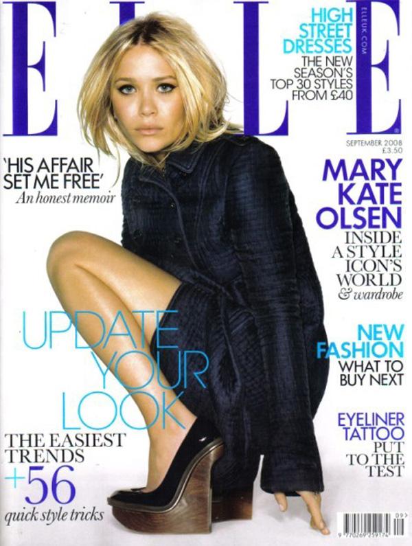 Mary Kate Olsen na okładce magazynu Elle UK z 2008 roku