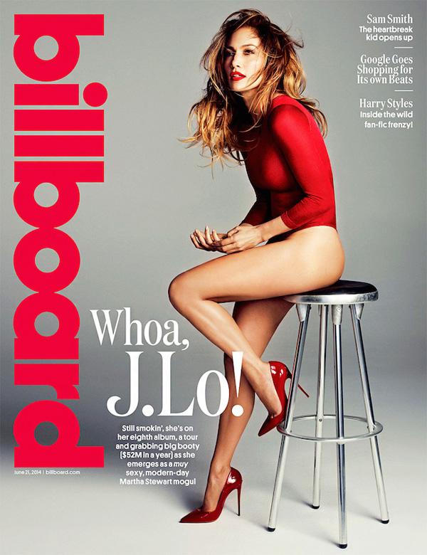 Jennifer Lopez w szpilkach Christiana Louboutina na okładce magazynu Bilboard z 2014 roku