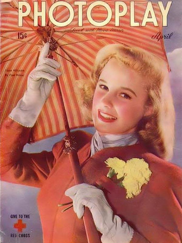 June Allyson na okładce kwietniowego wydania magazynu Photoplay z roku 1945