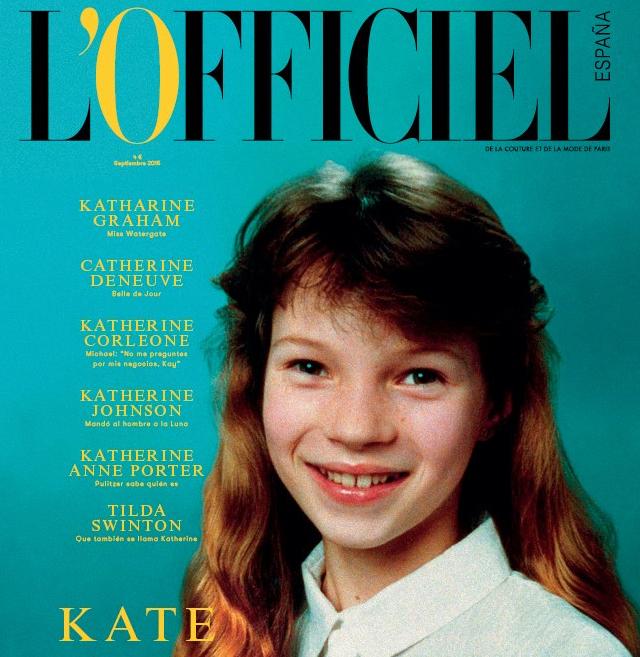 10-letnia Kate Moss na okładce hiszpańskiego wydania L'Officiel
