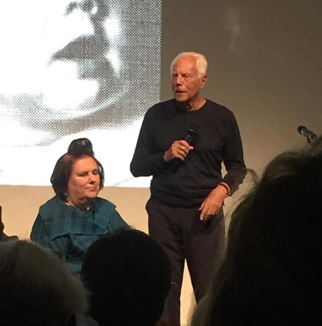 Suzy Menkes i Giorgio Armani na premierze książki w Mediolanie/Instagram: @amicamagazine