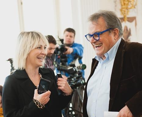 Anna Puślecka, redaktor naczelna DYKF i Oliviero Toscani/fot. Artur Cieślakowski dla Agencji Republic