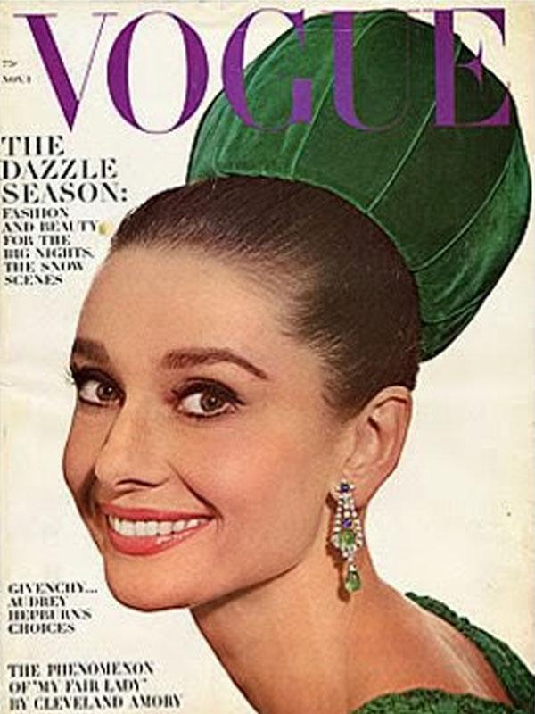 Audrey Hepburn na okładka magazynu Vintage Vogue