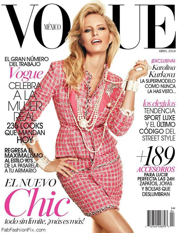 Karolina Kurkova na okładce magazynu Vogue Mexico - kwiecień 2014