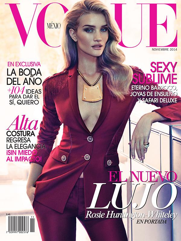 Rosie Huntington Whiteley w garniturze Versace - Vogue Mexico listopad 2014