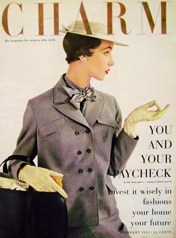 Dovima na okładce magazynu Charm 1953 rok