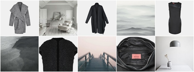 Kolaż przedstawiający ubrania marki Moove oraz inspiracje