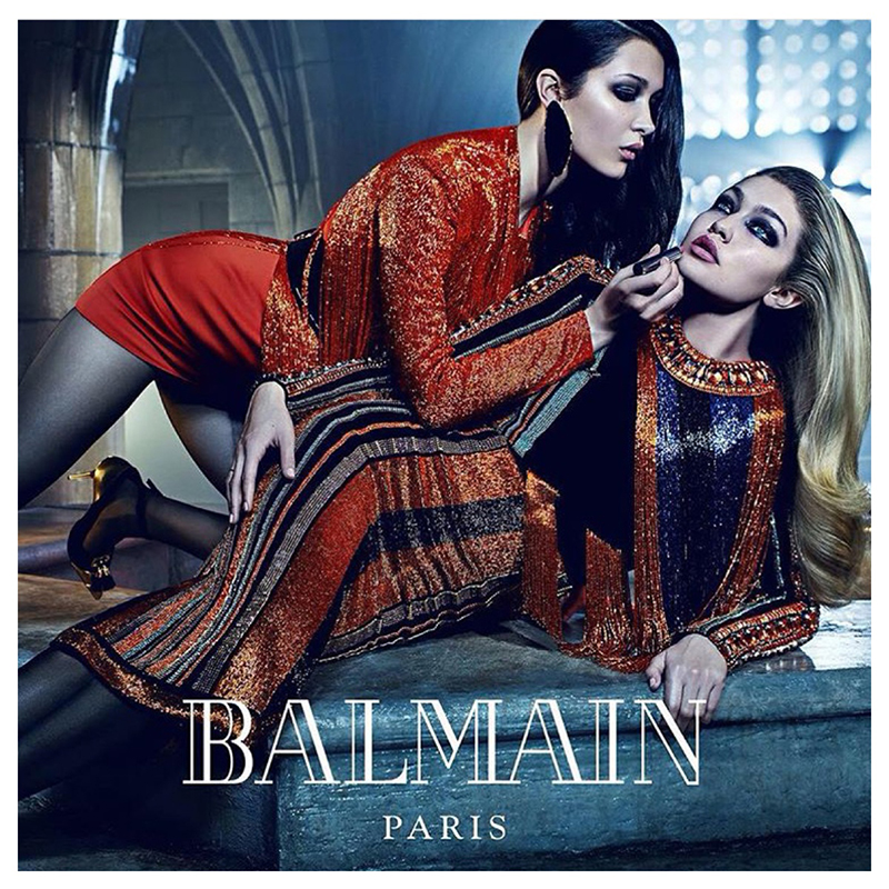 Gigi i Bella Hadid w kampanii Balmain