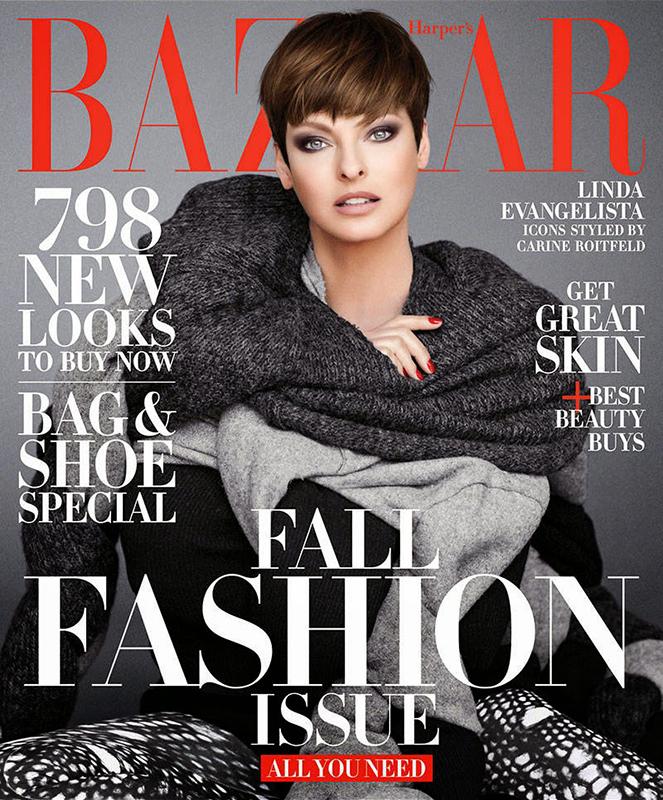 Linda Evangelista w kreacji Comme Des Garçons dla Harper's Bazaar
