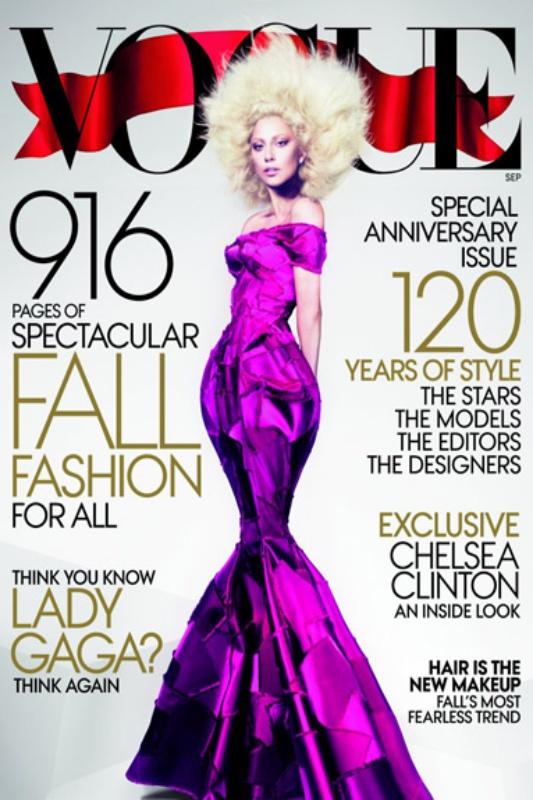 Sukienka określająca linię syreny - okładka amerykańskiego Vogue'a - wrzesień 2012