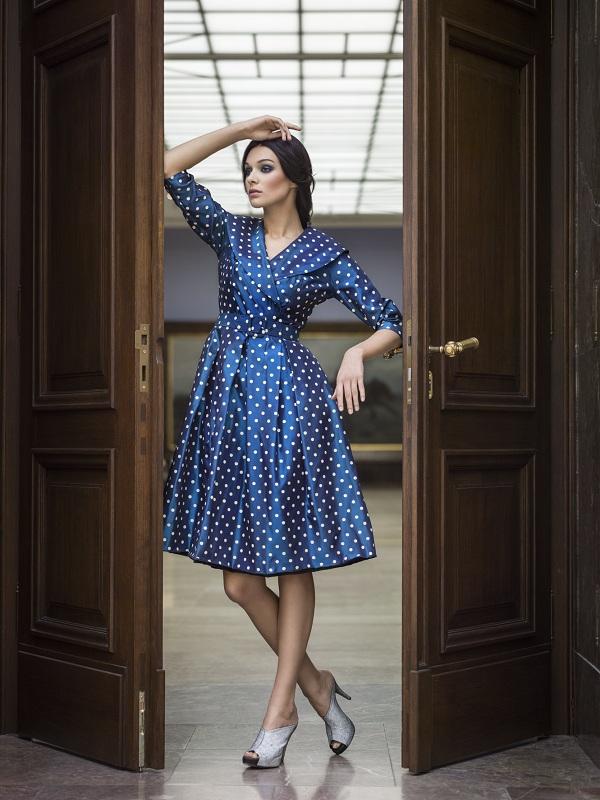 Sukienka jedwabna w stylu New Look/fot. archiwum Muzeum Narodowego w Krakowie