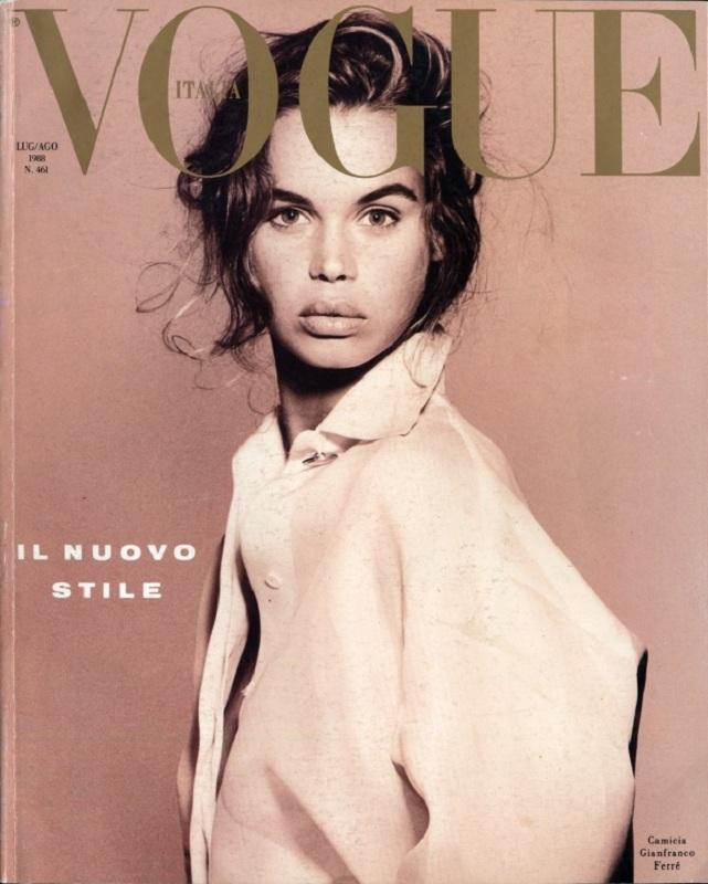 Pierwsza okładka włoskiego Vogue'a Franci Sozzani - lipiec/sierpień 1988