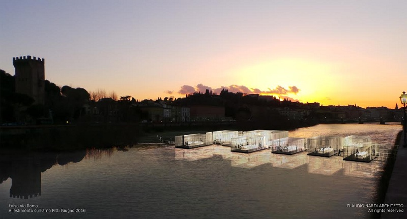 """Wizualizacja instalacji """"The Bridge of Love"""" na rzece Arno/fot. www.luisaviaroma.com"""