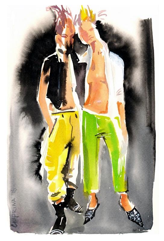 Backstage pokazu Haider Ackermann/Ilustracja: Elena Ciuprina