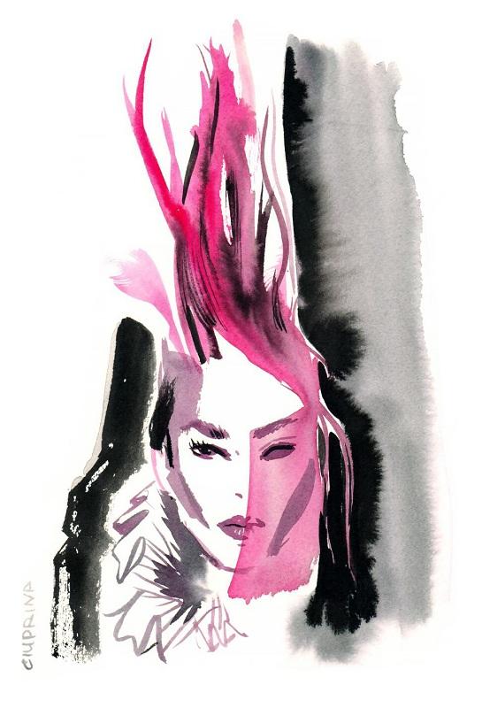 Pokaz Haider Ackermann - portret/Ilustracja: Elena Ciuprina