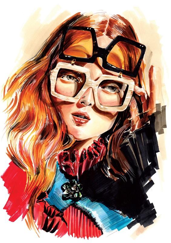 """Gucci Girl"" - okładka magazynu Lounge/Ilustracja: Elena Ciuprina"