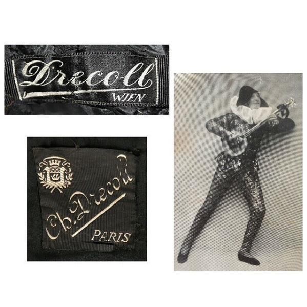 Metki Drecolla z różnych etapów twórczości oraz projektant w stroju błazna w roku 1925/Instagram: @kerrytaylorauctions