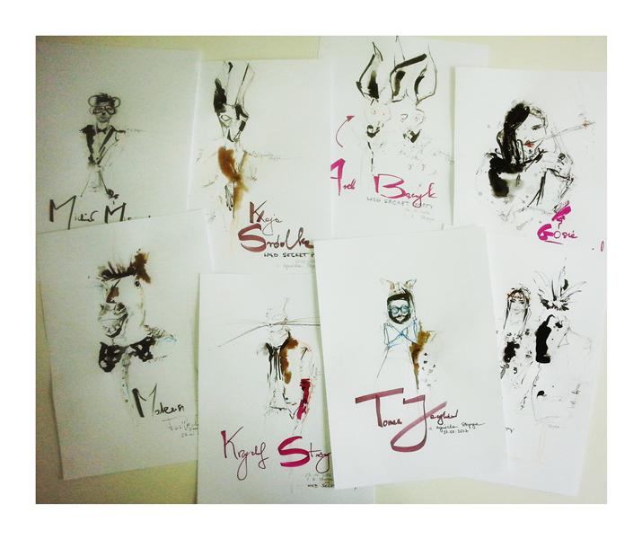 Ilustracje gości wykonane przez AgnieszkęStopyrę