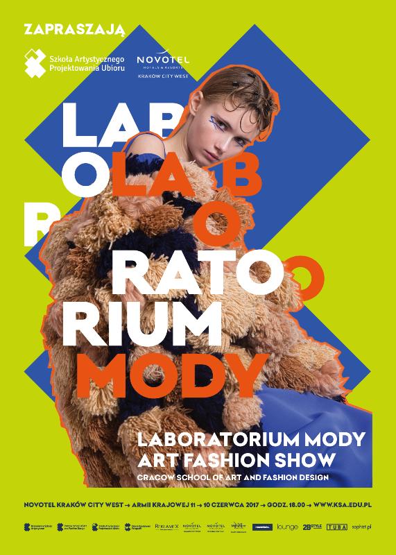 Plakat promujący pokaz Laboratorium Mody