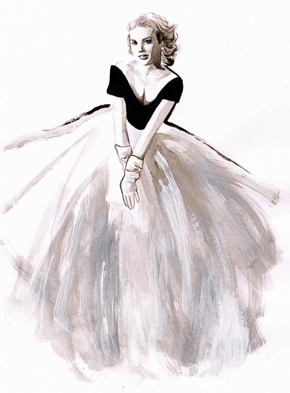 """Ilustracja wykonana dla magazynu """"Rouge"""" - Grace Kelly/Ilustracja: Sylwia Dębicka"""