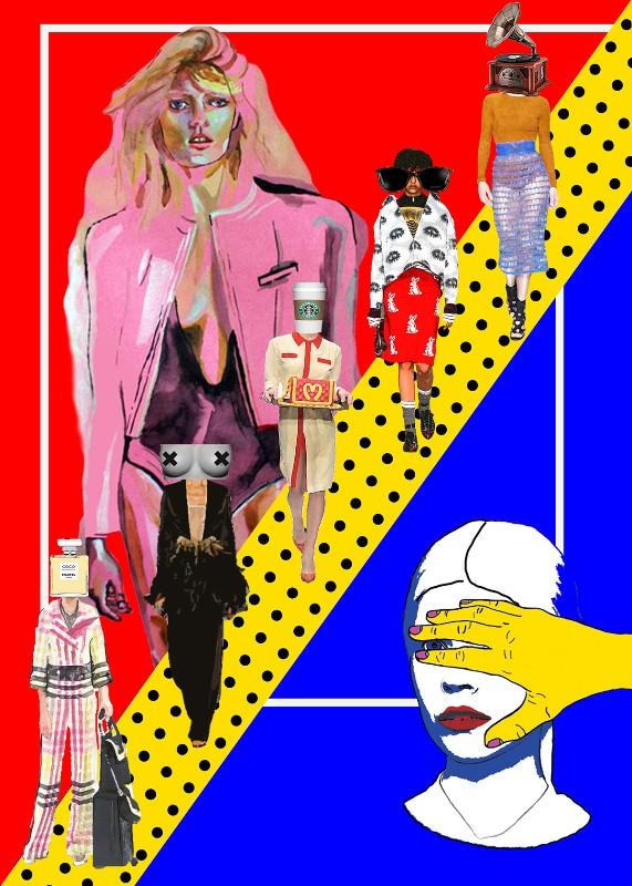 """""""5 FASHION SENSES"""" - plakat wykonany podczas warsztatów Art&Fashion Forum w Starym Browarze w Poznaniu/Wykonanie: Aneta Klejnowska"""