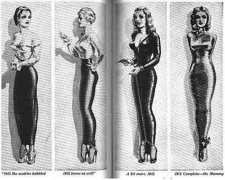Zmiany w hobble skirt na przestrzeni lat/Instagram: @atomiccherry