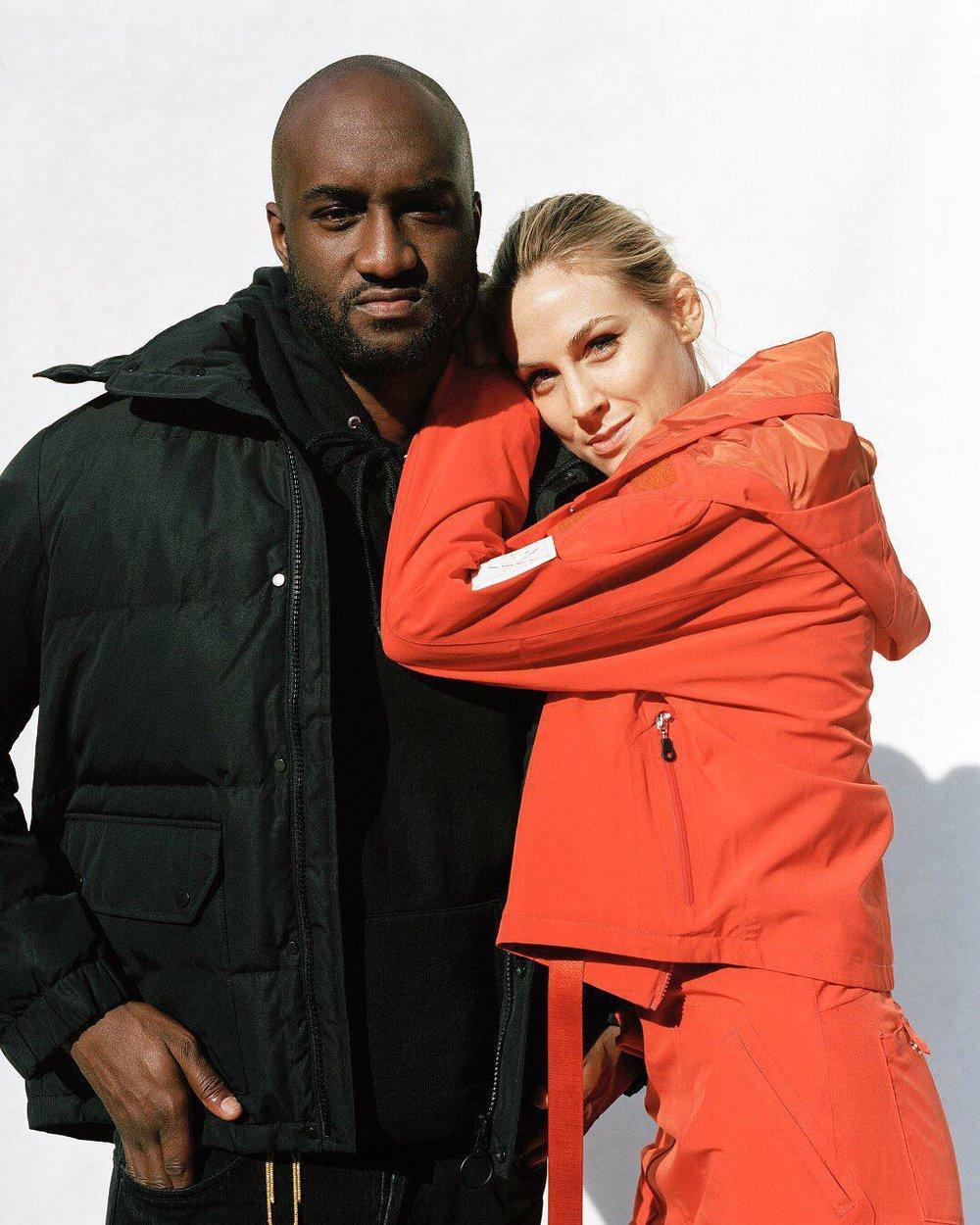 Virgil Abloh - twórca marki Off-White i Selby Drummond - dziennikarka Vogue'a ubrana w strój z limitowanej kolekcji Burton x Off-White x Vogue/Instagram: @burtonsnowboards