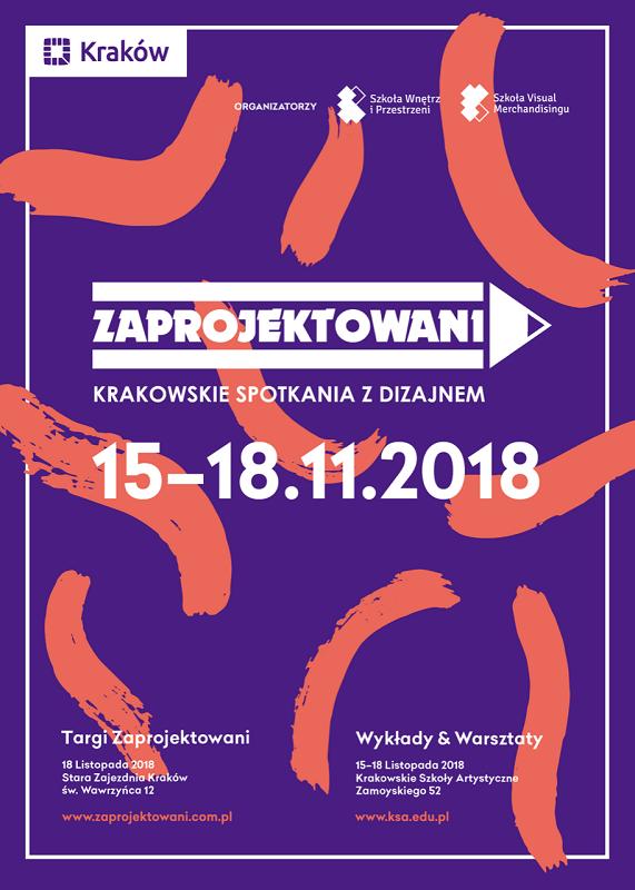 """Plakat promujący wydarzenie """"Zaprojektowani - Krakowskie Spotkania z Dizajnem""""/fot. materiały prasowe"""